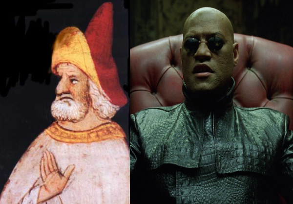 Hasan al-Sabbah, the Lord of Alamut, and Morpheus, from The Matrix
