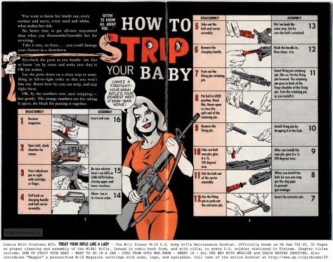 "Pages 2-3 ""How to Strip Your Baby"" of  The Will Eisner M-16 U.S. Army Rifle Maintenance Booklet, officially known as DA Pam 750-30 (source: ""Comics with Problems"" Issue #25 - Treat Your M-16 Rifle Like a LADY)"