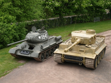 The T-34 (left) and the Tiger-1 (right) standing side by side at Bovington Tank Museum (source: Tank Lovers Group @ desura.com)