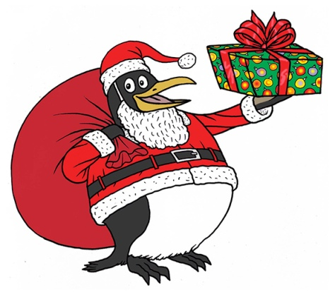 The penguin Santa proposed by Aisha Harris (Illustration by Mark Stamaty)