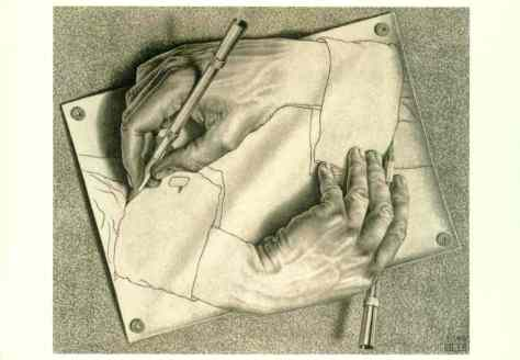 "An action is reflexive when the subject and the object are identical. In this work by Dutch artist M. C. Escher, a hand is drawing itself; hence the act of drawing here is ""reflexive."""
